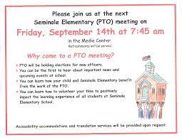 Pta Elections Flyer Pto Meeting Seminole Elementary