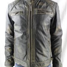 men s vintage leather biker jacket in black rub off
