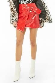 faux patent leather mini skirt