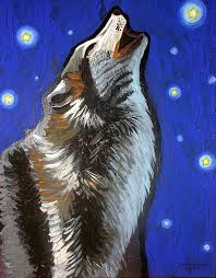 wolf howling painting. Interesting Painting Wolf Painting  Howl By Genevieve Esson To Howling U