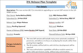 Release Plan Template Cool Release Plan Template ITIL Docs