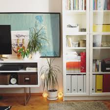 Ikea billy bookcase, Besta TV stand and some rugs.