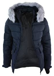 Mens Faux Fur Hood Puffer Quilted Jacket Slim Fit Navy Black ... & Mens-Faux-Fur-Hood-Puffer-Quilted-Jacket-Slim- Adamdwight.com