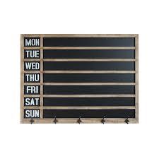 wood framed week day chalkboard wall decor with 5 metal hooks