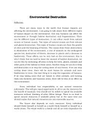 reflection about environmental destruction environmental destruction reflection there are many ways in the world that human impacts are affecting the