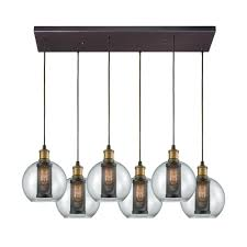 titan lighting bremington 6 light rectangle tarnished brass oil rubbed bronze with clear glass