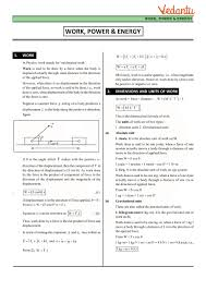 Class 11 Physics Revision Notes For Chapter 6 Work Energy