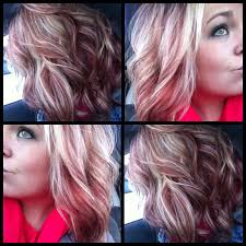 Ashy Blonde With Coppery Violet Red
