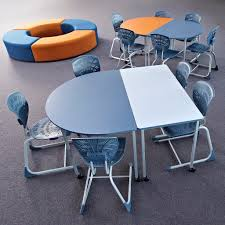 School rectangle table High School And Rectangle Tables With Bodyfurn Chairs And Quarter Circle Ottomans With Colour Pop Of Orange Create The Perfect Learning Environment For The 21st Smith System And Rectangle Tables With Bodyfurn Chairs And Quarter Circle