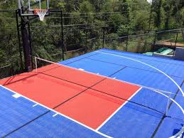 aerial view of comleted outdoor basketball and tennis court