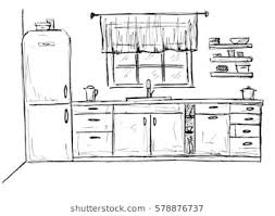 simple kitchen drawing. Contemporary Kitchen Hand Drawn Kitchen Furniture Sketch Vector Illustration Intended Simple Kitchen Drawing