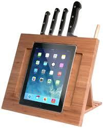 Kitchen, Tablet Holder For Kitchen Griffin Cabinet Mount Wooden Board Tablet  Holder With Knife Holder