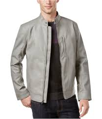 alfani mens faux leather slim er jacket