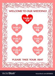 Wedding Seating Plan Chart Wedding Table Chart Seating Plan Vintage Frame