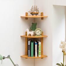Wooden Corner Shelf Designs Mumaren 1 2 Tiers Bamboo Fan Shaped Corner Bookshelf Storage Rack Wall Mounted Wooden Corner Desk Shelf