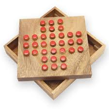Wooden Peg Solitaire Game Peg Solitaire Game Family Board Games AmaWood 70