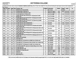 Wi 19 Undergraduate Class Schedule 10 1 Kettering College