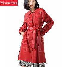 best of popularity autumn red real sheepskin genuine leather trench coat womens female long las belt