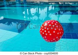 beach ball in pool. Red Spotted Beach Ball In The Swimming Pool - Csp9304600 L