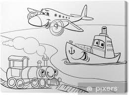 Canvas Vliegtuig Schip Trein Cartoon Kleurplaat Pixers We Leven