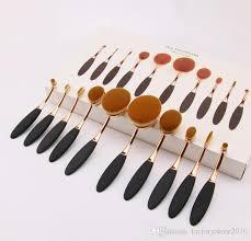 2016 hot makeup brushes sets mermaid oval brush set foundation multipurpose makeup tool cream puff cosmetic powder toothbrush curve brush makeup organizer