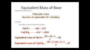 Equivalent Weight Chart How To Calculate Equivalent Mass