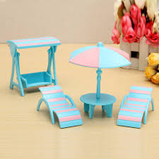 miniatures furniture set diy toy house beach umbrella table chair gifts