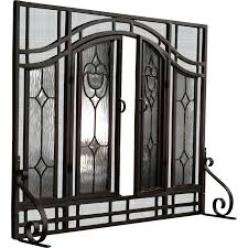clear beveled glass fireplace screen with a beautiful etched design in folding leaded screens stained flat