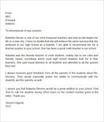 Sample Letter Of Recommendation For High School Student From Teacher Sample Recommendation Letter For High School Student From