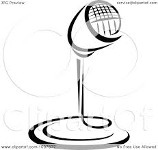 desk clipart black and white. clipart black and white retro radio desk microphone 1 - royalty free vector illustration by tradition sm