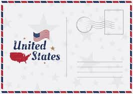 american template usa vector vintage postcard with american flag and map template