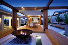 Outdoor Kitchen Australia Stylish Backyard With Teak Decking Idesignarch Interior Design