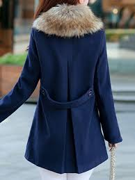 a line faux fur wool blend oned plus size pockets peacoat women with hood