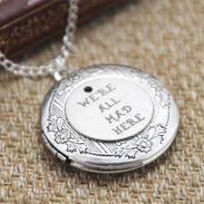 details about alice in wonderland locket necklace we re all mad here necklace