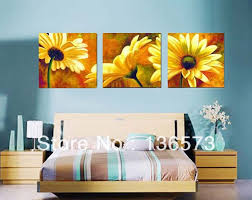 hand painted 3 piece beautiful yellow blooming sunflower wall art canvas painting modern picture for home decoration no framed in painting calligraphy  on sunflower wall art canvas with hand painted 3 piece beautiful yellow blooming sunflower wall art