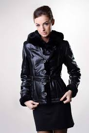 womens fur coat made from natural sheep fur with the exterior manufactured from nappa