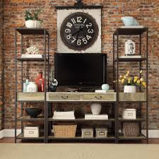 Sadie Industrial Rustic Open Shelf Media Console with Two Towers by iNSPIRE  Q Classic by iNSPIRE Q