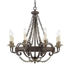 cascadia lighting mallory 30 in 8 light fossil stone vintage candle chandelier