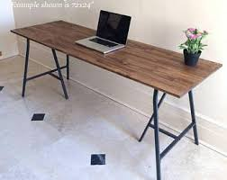 Large Desk, Hand-finished Wood and Metal Table on Ikea Legs, Long Desk