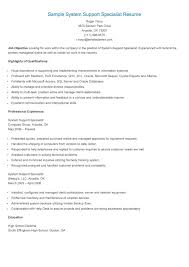 sample system support specialist resume resame sample system support specialist resume