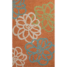 jaipur rugs catalina blossomed 3 x 5 indoor outdoor rug orange blue
