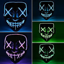 Led Light Up Mask Purge Us 8 92 25 Off Funny Led Light Up Mask For Glow In Dark Halloween Festival Cosplay Costume Supplies The Purge Election 2018 New Year Party Mask In