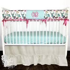 boho deer woodland baby girl crib bedding