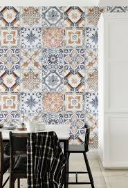 Laid-back Mediterranean vibes with this stunning tile effect wallpaper  design. Taking inspiration from