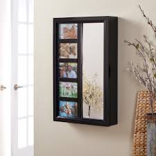 collage photo frame wooden wall locking jewelry armoire 23w x 30h in com