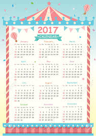Twelve Month Calendar Template For 2017 With Carnival Design