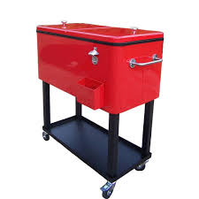 oakland living 80 qt steel red patio cooler cart