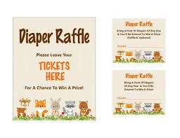 raffle sign woodland diaper raffle ticket printable diaper raffle sign etsy