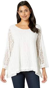 Nally And Millie Size Chart Nally Millie Lace Lined Trapeze Top Cream Sm At Amazon