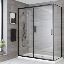milano nero black sliding shower door